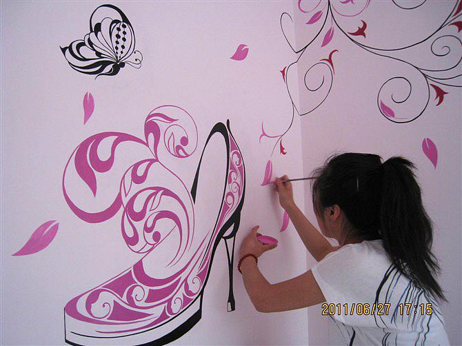 墙体手绘|插画|商业插画|奋斗的小鸡 - 原创作品