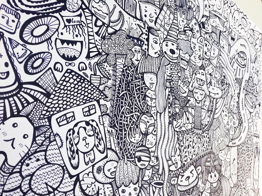 原创作品:黑白手绘之呆萌星球