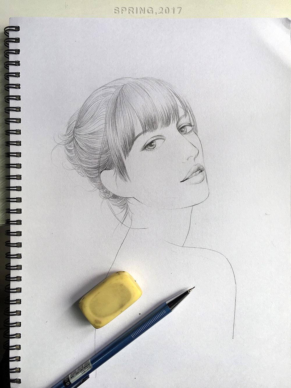 线描人物-女孩