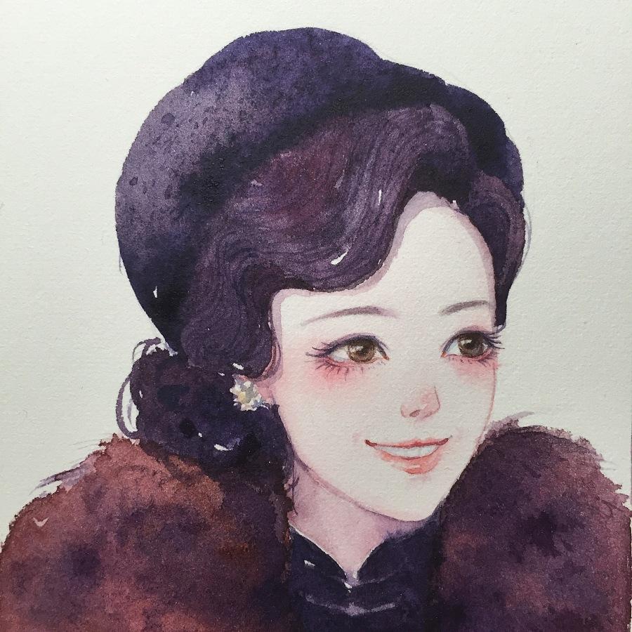 【小熊猫】水彩手绘人物水彩教程人物卡通头像手绘水彩插画