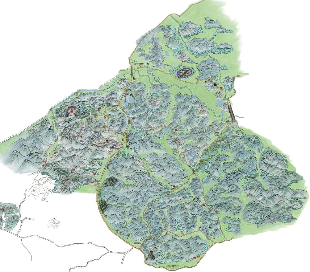 手绘旅游地图|插画|商业插画|小镇鹿人 - 原创作品