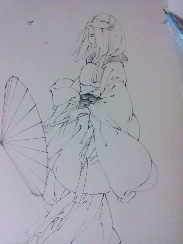 古代美女背影铅笔画 古装美女背影手绘图 古代美女