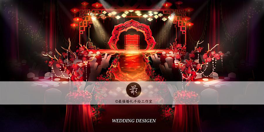 【婚礼手绘】中式电脑手绘宴会厅全景