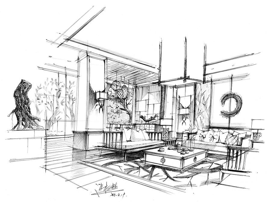 【电脑手绘】手绘的速度-3d的效果 室内设计 空间 连