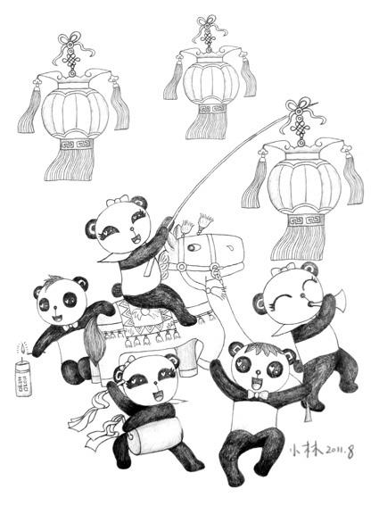 欢乐大熊猫黑白稿子