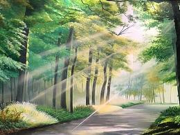 森林中的光与影|森林墙体彩绘|幼儿园森林彩绘