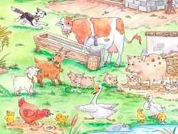 手绘农场绘本