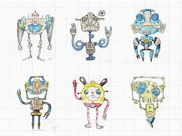 彩铅手绘小机器人系列插画可爱机械朋克风
