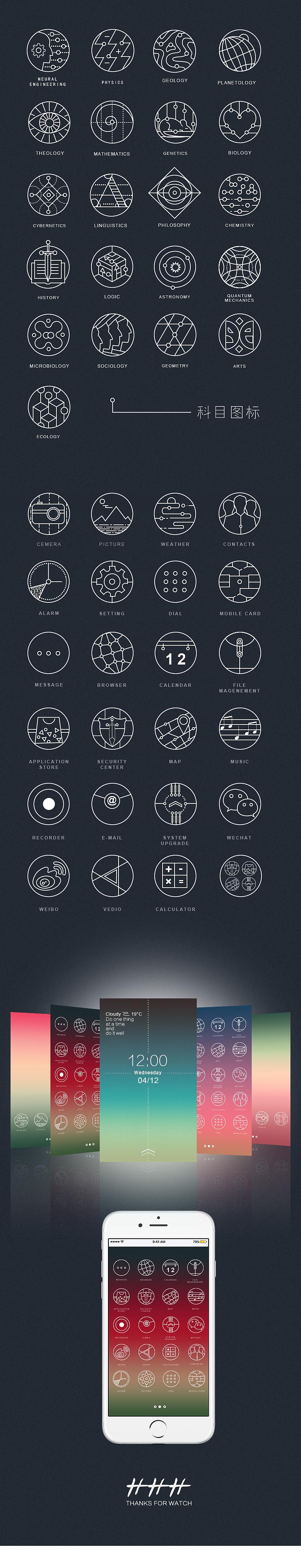 在网上看到极简又很有创意的学科线性学科图标, 然后自己也画了一组