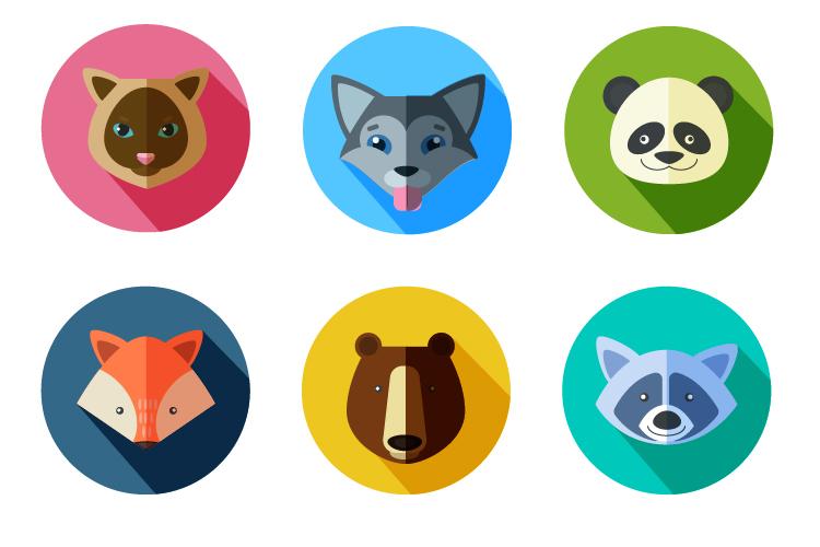 卡通动物头像图标,主要是锻炼椭圆,路径查找器面板,和形状生成等工具