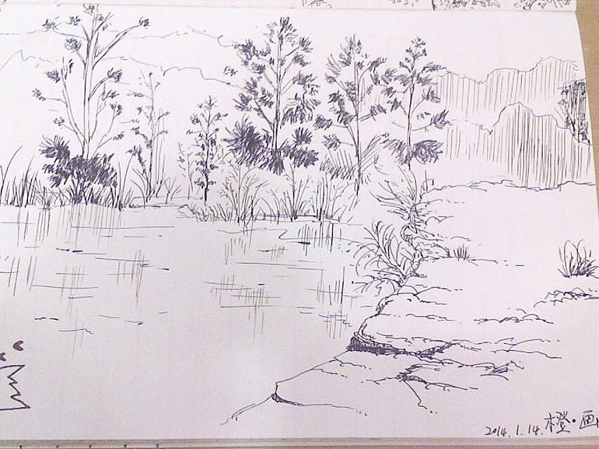 中性笔手绘,彩铅手绘