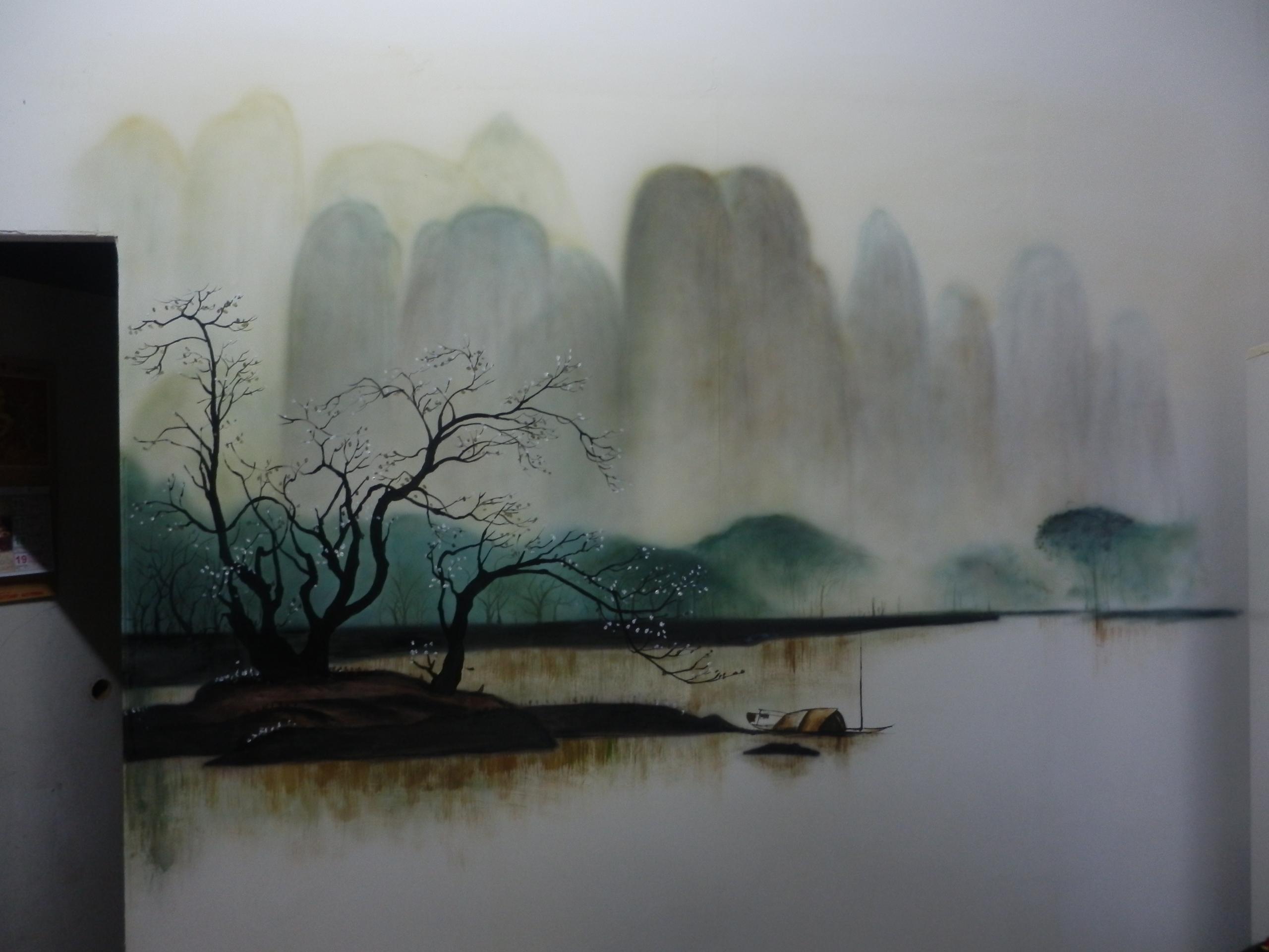 水墨风景|其他|墙绘/立体画|懿轩手绘墙 - 原创作品
