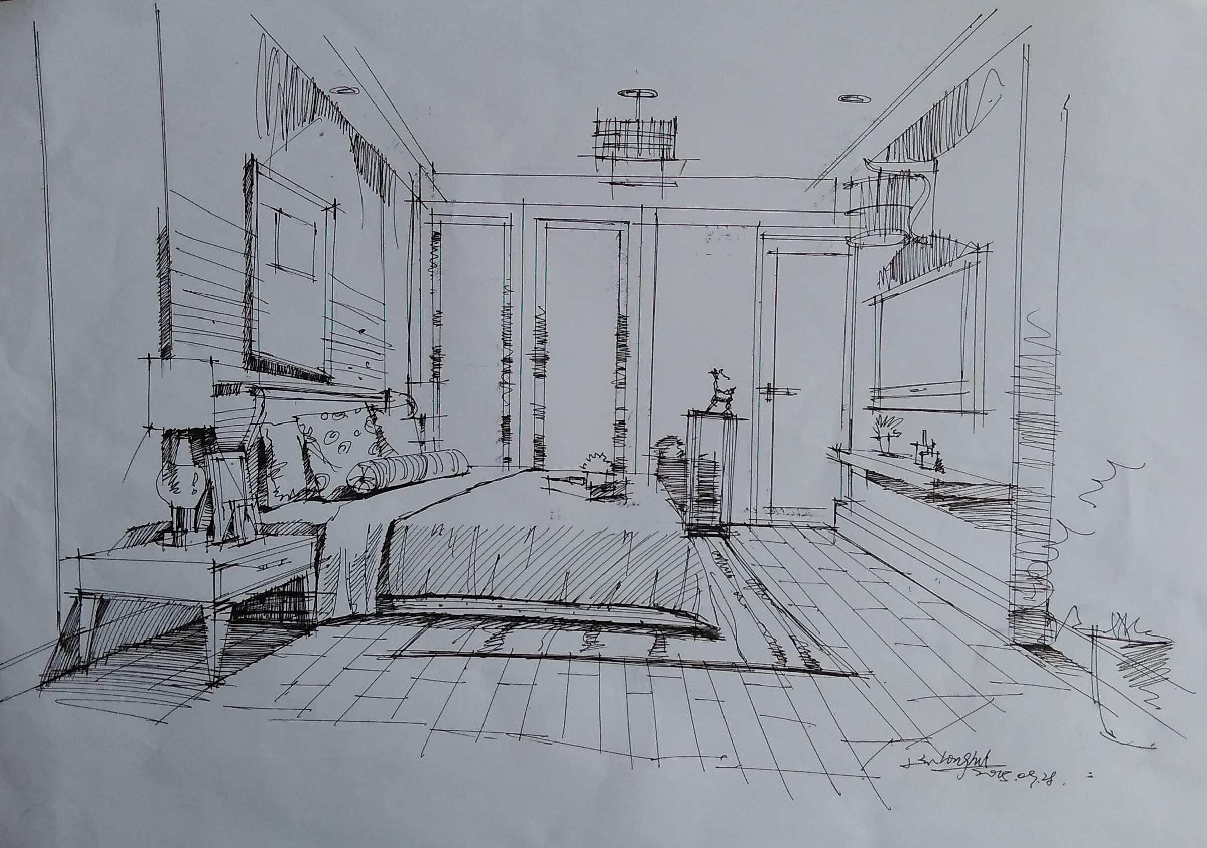室内设计图手绘二点透视 图片大全
