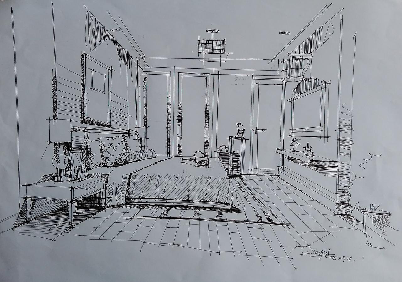 室内手绘草稿|空间|室内设计|老炭头llh - 原创作品