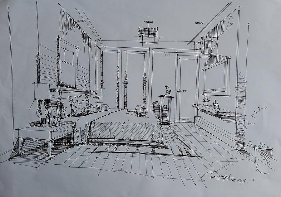 室内手绘草稿|室内设计|空间/建筑|老炭头llh