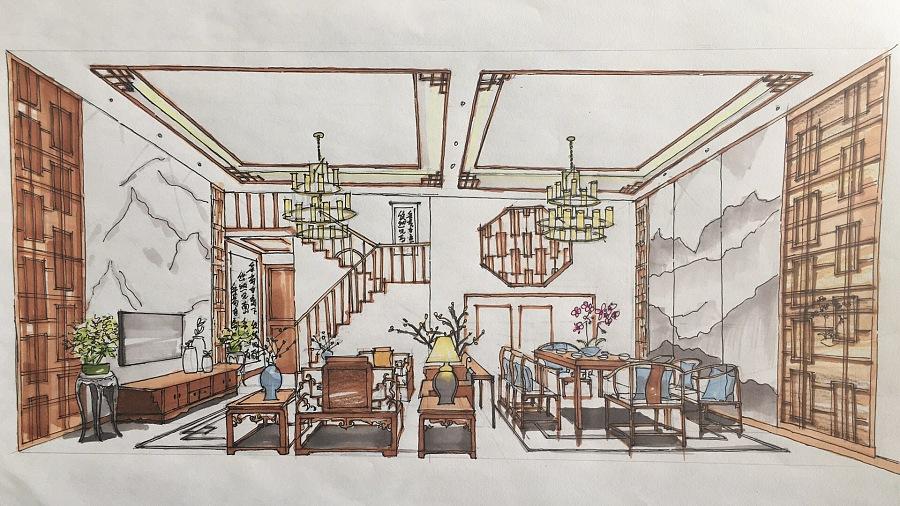 马克笔手绘客餐厅效果图