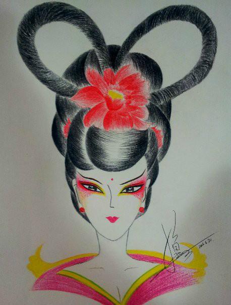 我的妆面手稿美人图|彩铅|纯艺术|时尚彩妆小鱼老师图片