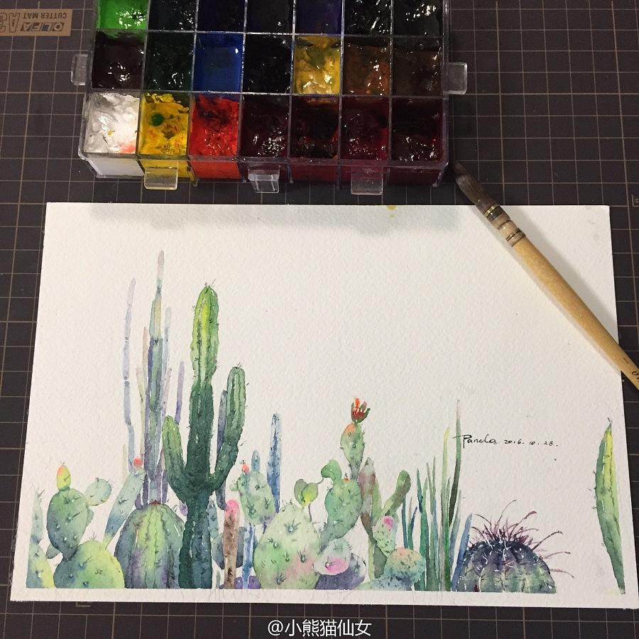 【小熊猫】水彩植物仙人掌手绘教程水彩风景旅行水