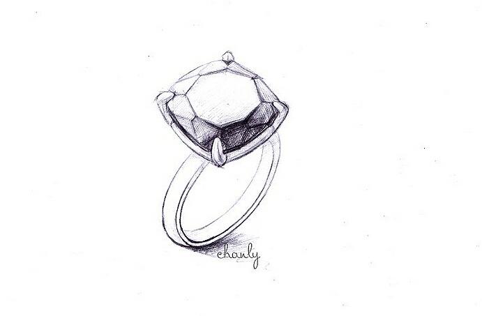 一组戒指手绘