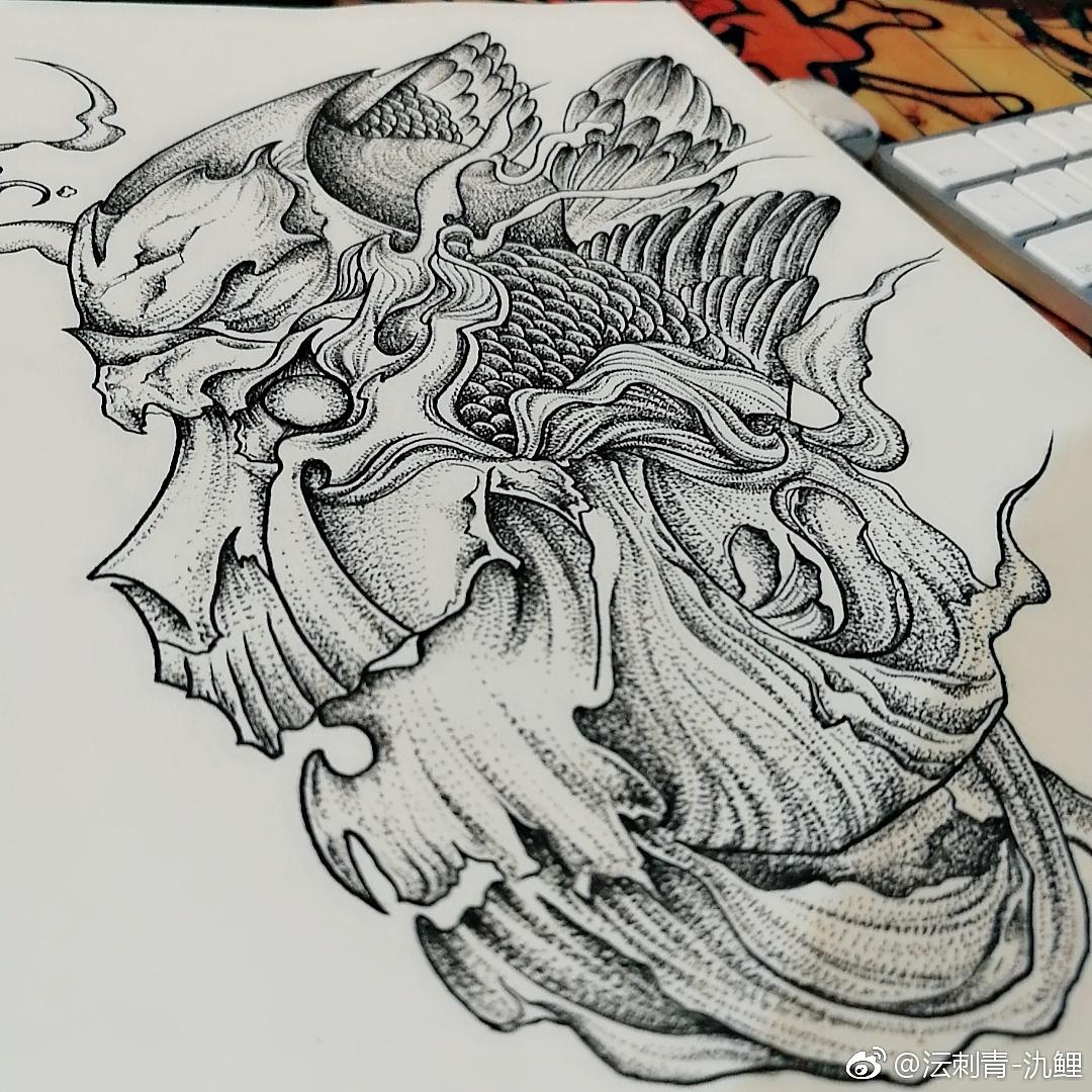 手稿美丽的孔雀纹身图案 - 孔雀手稿纹身图案大全 - 纹身帮图库