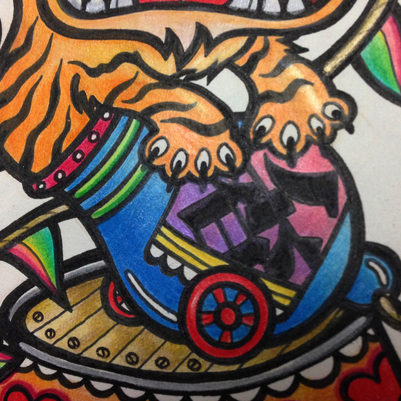 马戏老虎手绘插画涂鸦作品