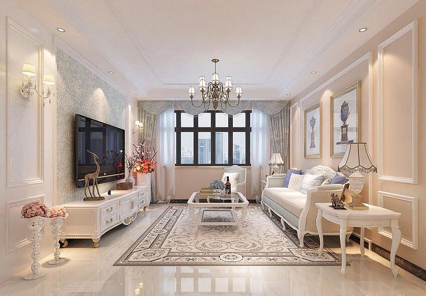 恒升一号庄园装修效果图115平简欧风格三室两厅设计---客厅全景