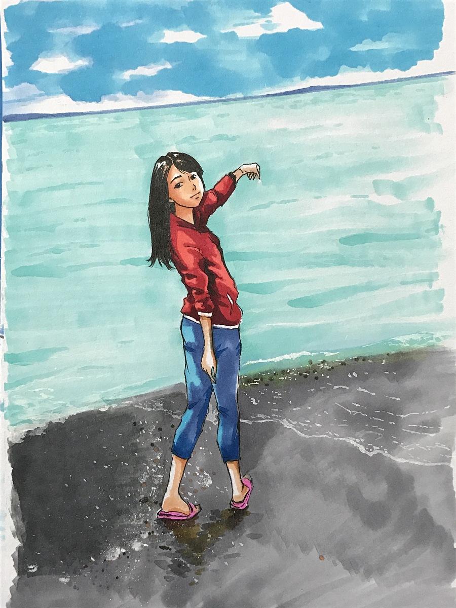 马克笔绘制继续|漫画肖像|漫画|秋山丶-原创设海报一带动漫一路图片