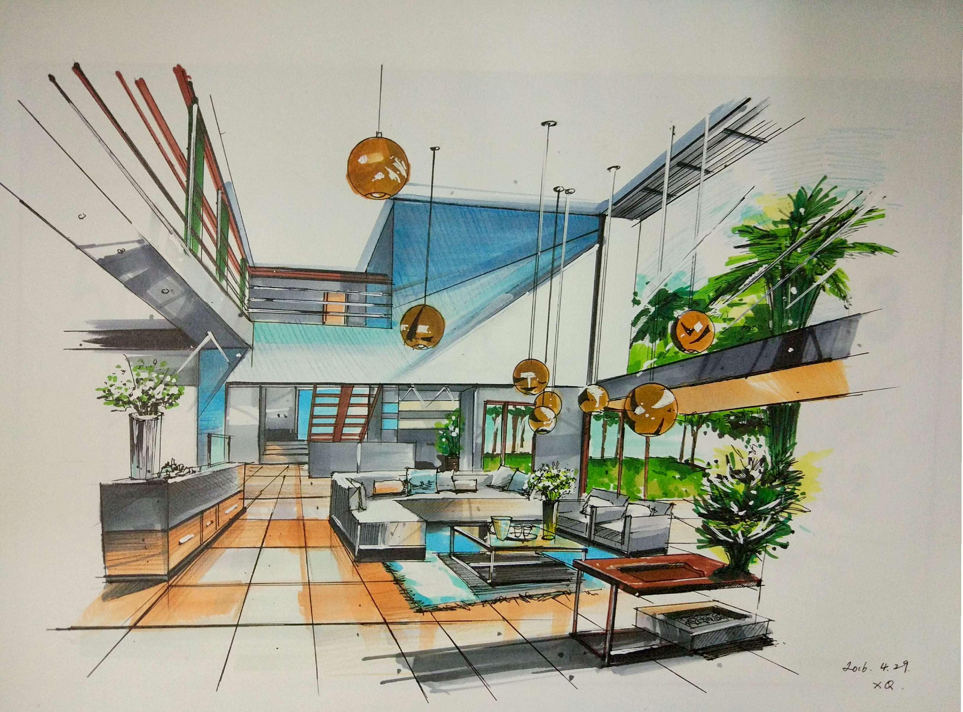 室内手绘|空间|室内设计|尚贤 - 原创作品 - 站酷