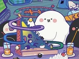 #插画#爬梯玩具+豆豉雀私宅(海底别墅)