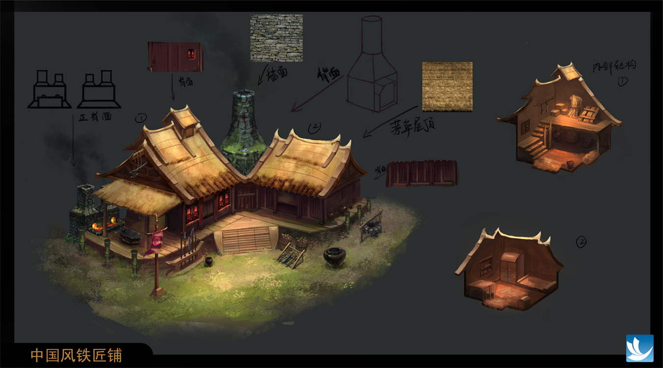 中国风铁匠铺,游戏原画场景绘画
