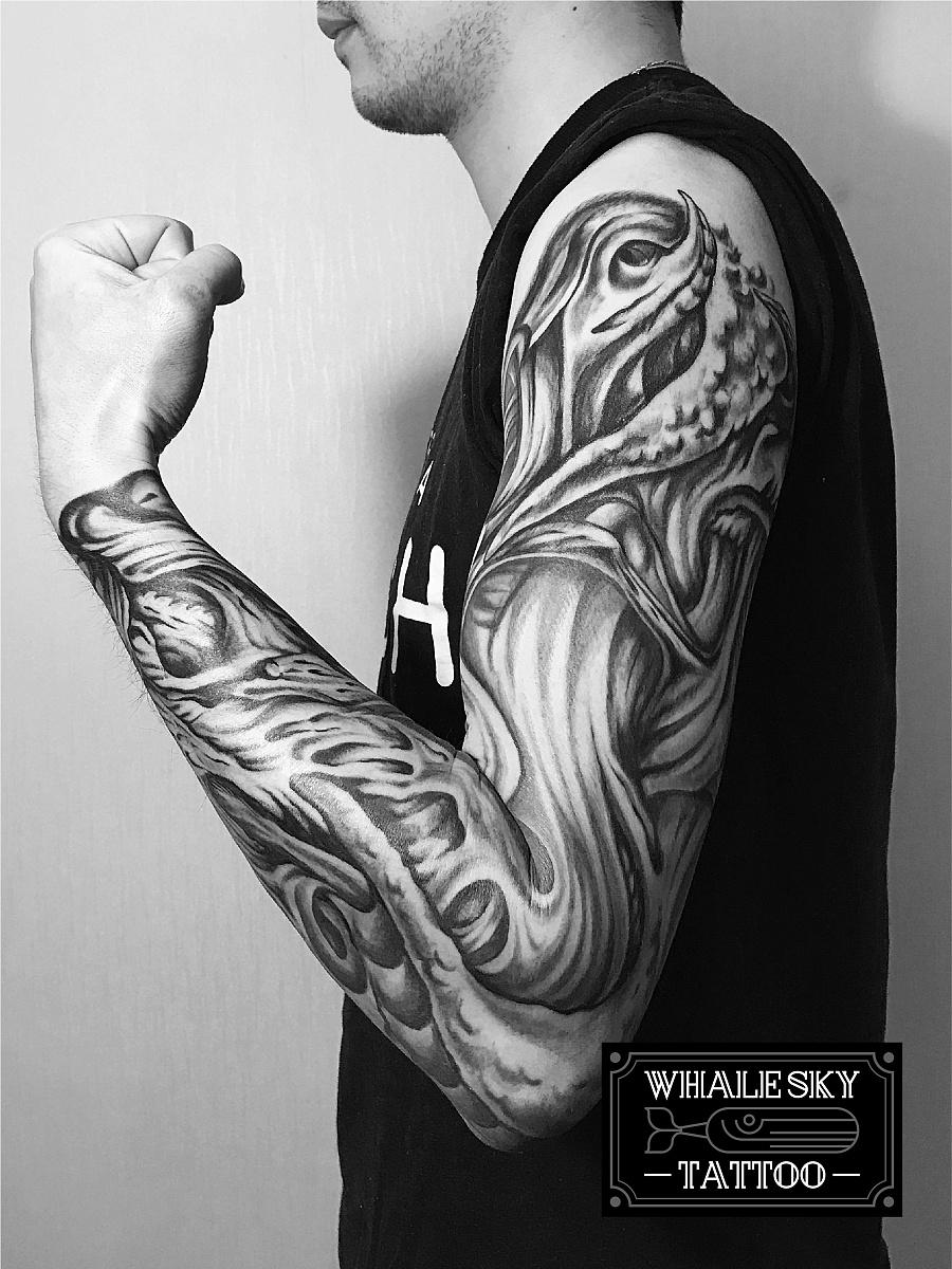 原创作品:欧美3d概念花臂刺青
