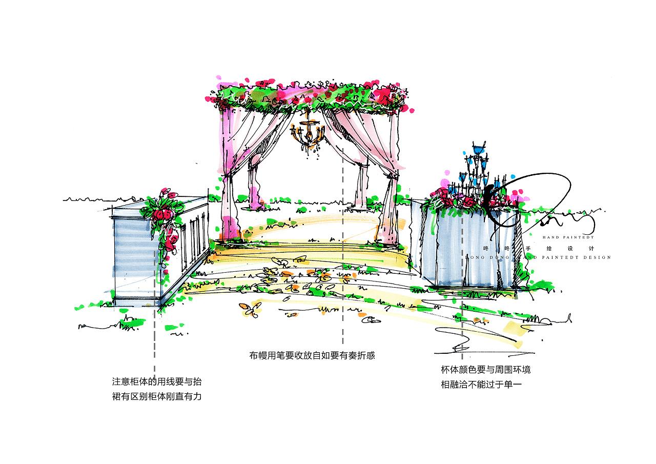 户外婚礼手绘素材练习|空间|舞台美术|咚咚婚礼手绘