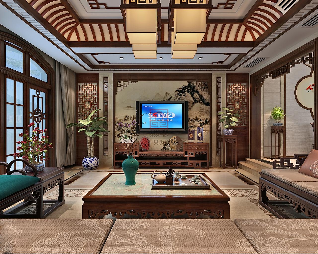 太行轩圃中式风格装修效果图|空间|室内设计|别墅大宅