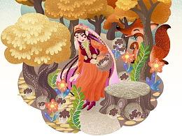 巴楚蘑菇礼盒包装插画-新疆特产,礼品首选