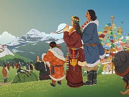 藏族文创包装画 布达拉宫 藏文化