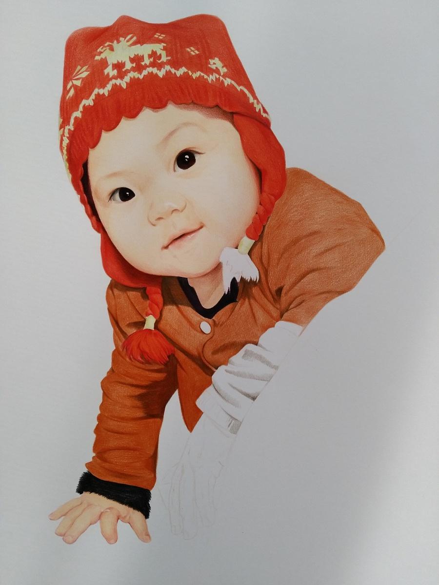 喜庆的小女孩|彩铅|纯艺术|榕森手绘