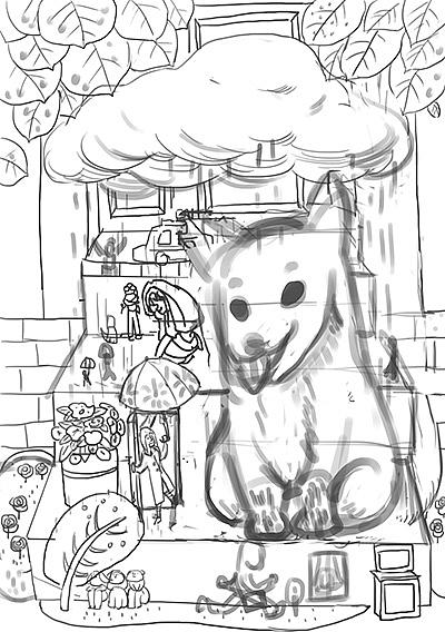下雨天简笔画