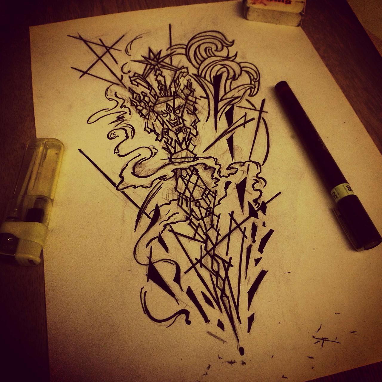 小腿纹身图案设计