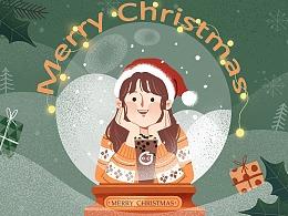 圣诞节倒计时系列插画