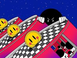 系列插画《黑面人生》2019年NO.1-18