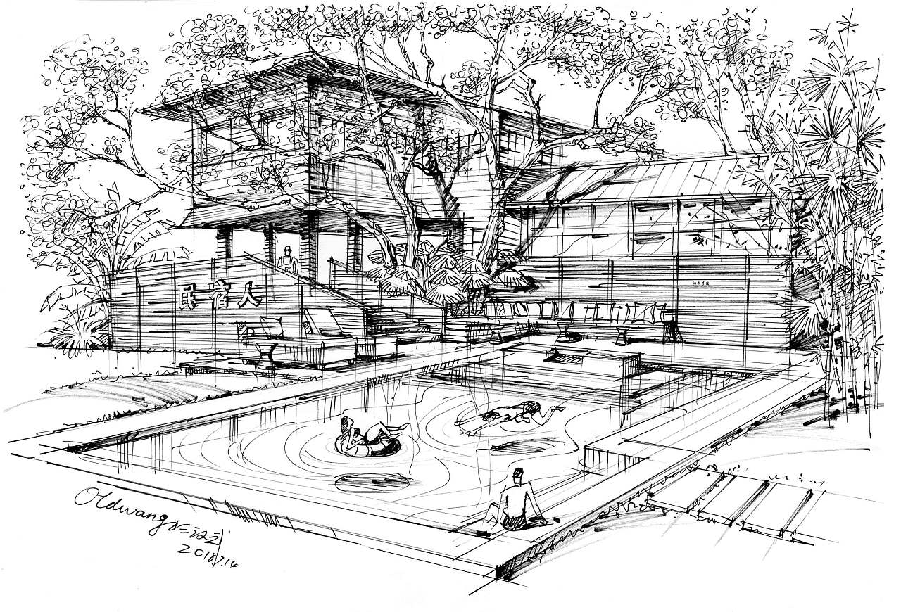 民宿人客栈泳池别墅钢笔线稿图片