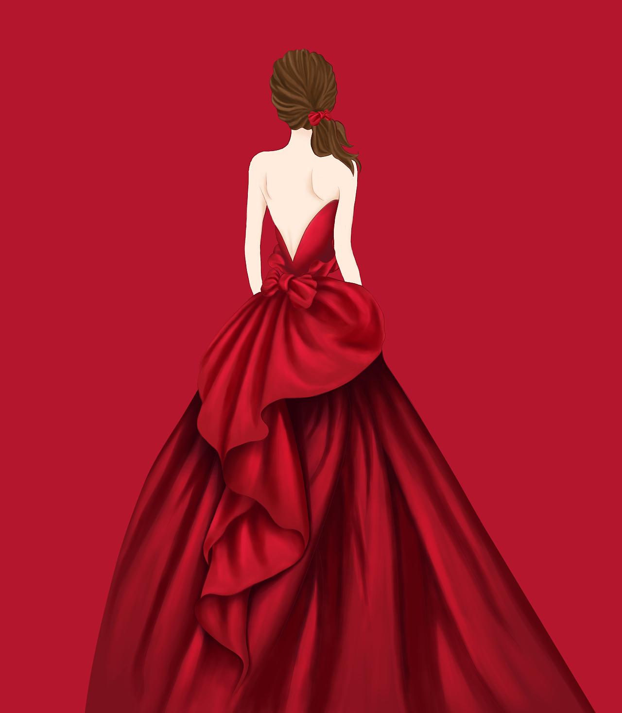 婚纱背影手绘