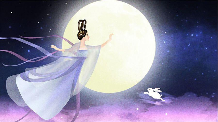 中秋节嫦娥奔月玉兔海报插画: 这个嫦娥第一次画,喜欢这种画风; 小
