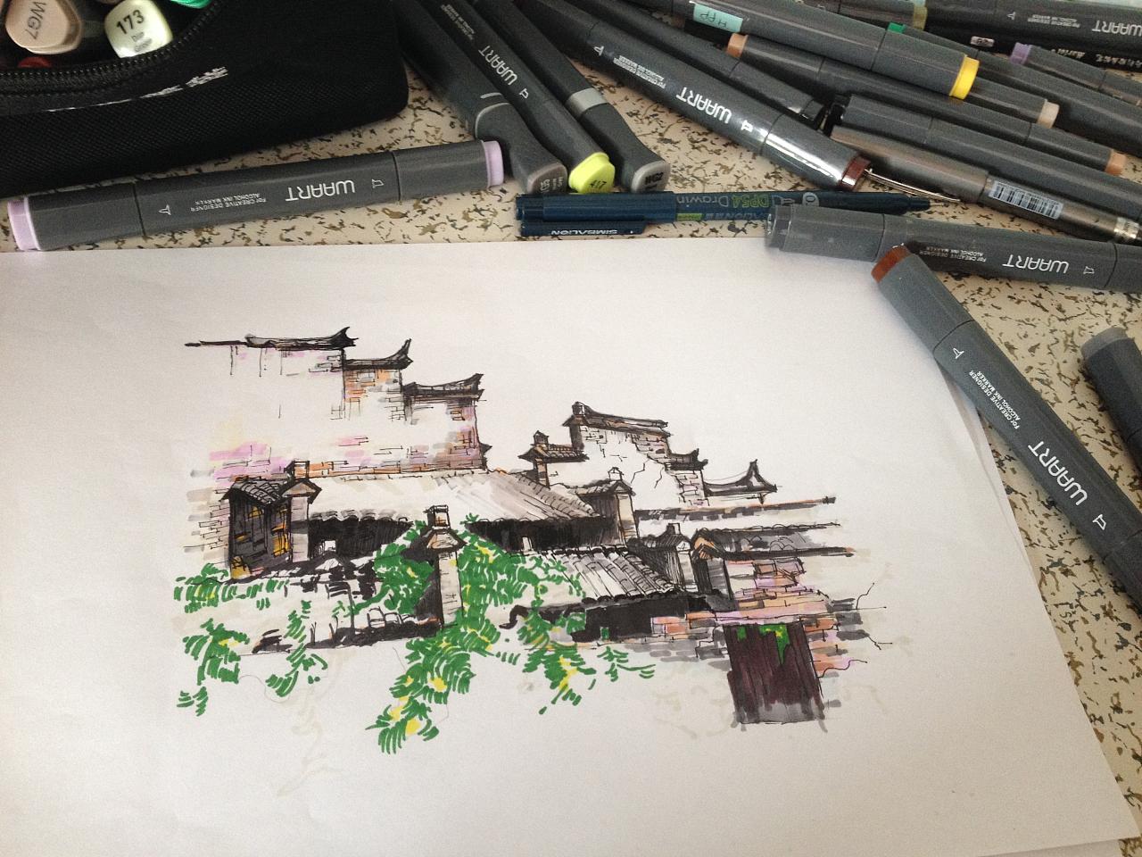 马克笔绘画过程中