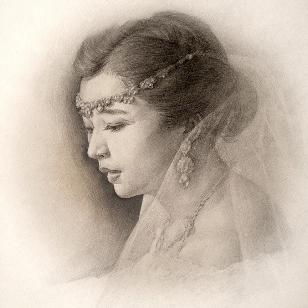 婚纱素描图片