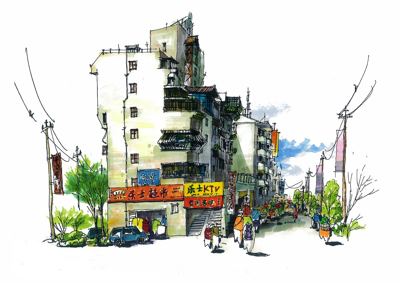 马克笔 风景速写|纯艺术|速写|谭泽鸿 - 原创作品图片