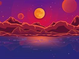 日落 - 商业插画