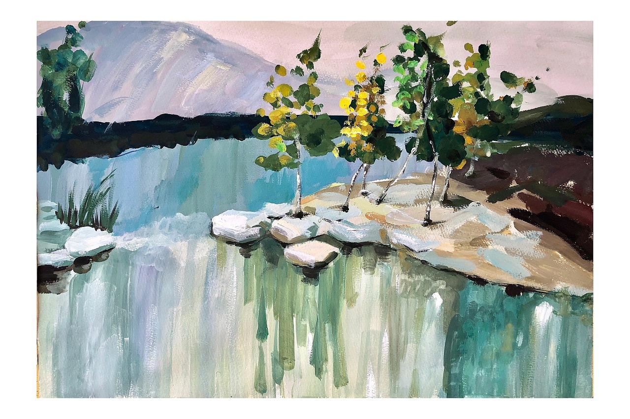 水粉风景画临摹囹�a_水粉手绘临摹风景画