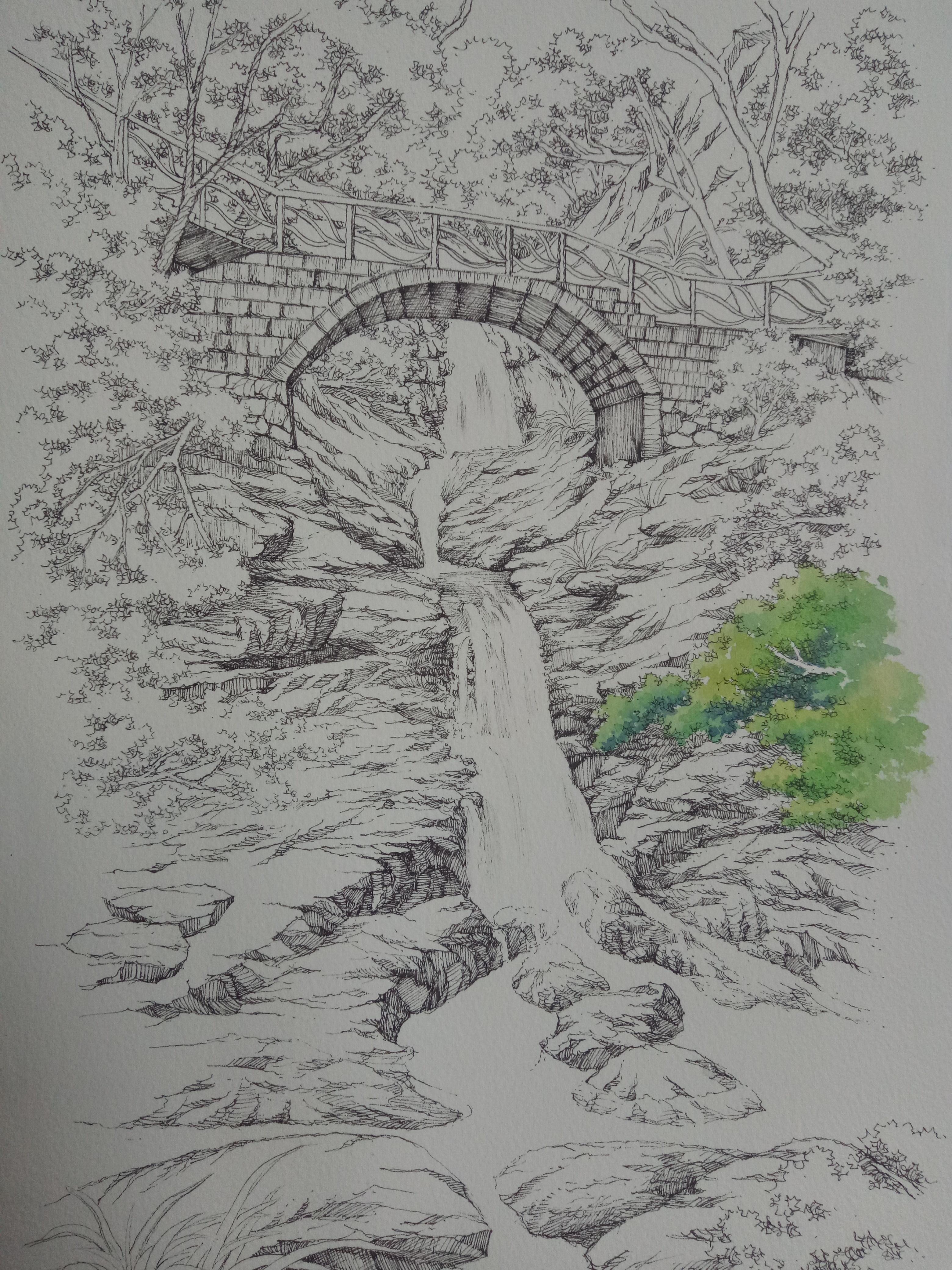 钢笔淡彩手绘风景