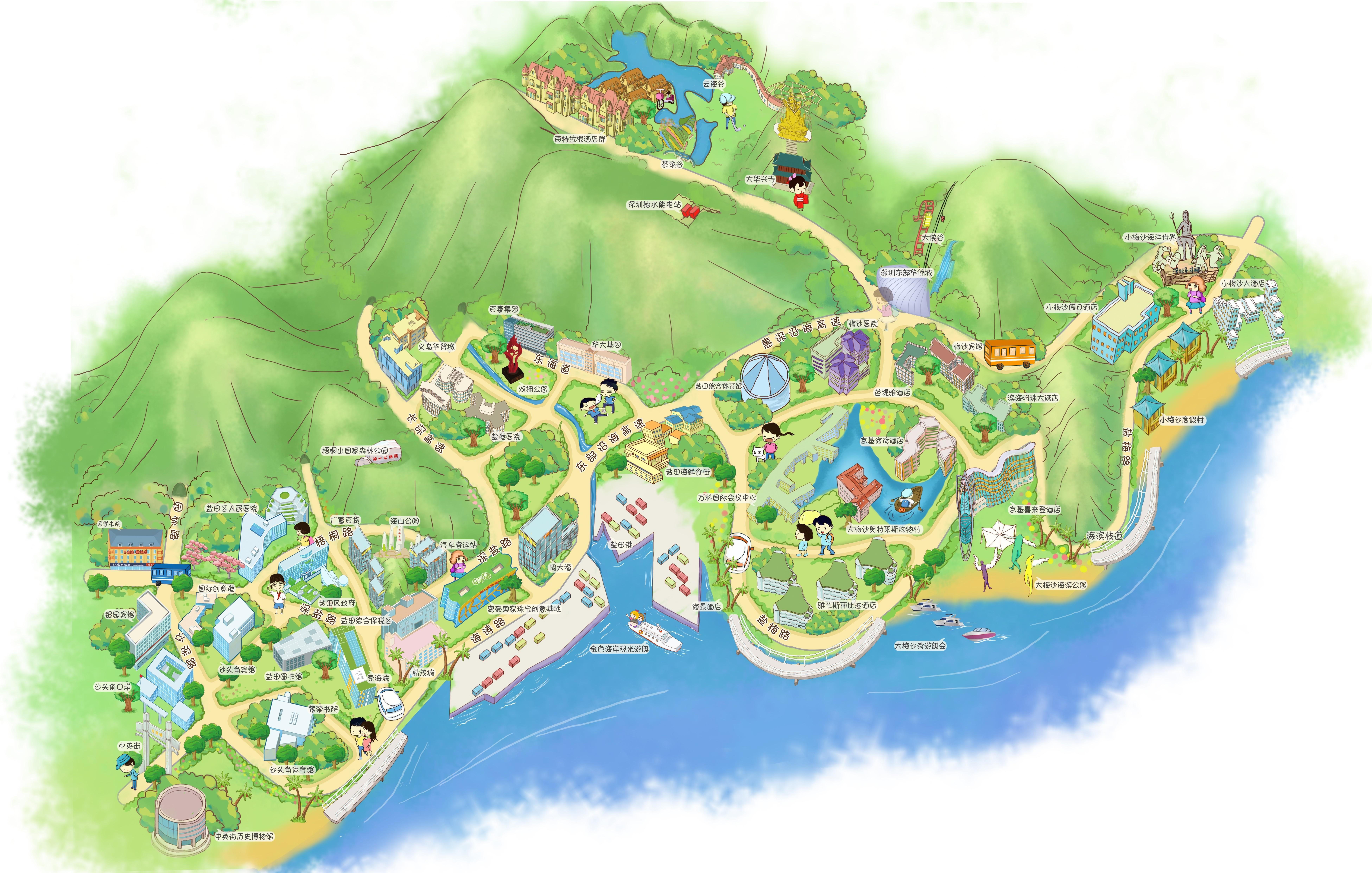 盐田区手绘导览图